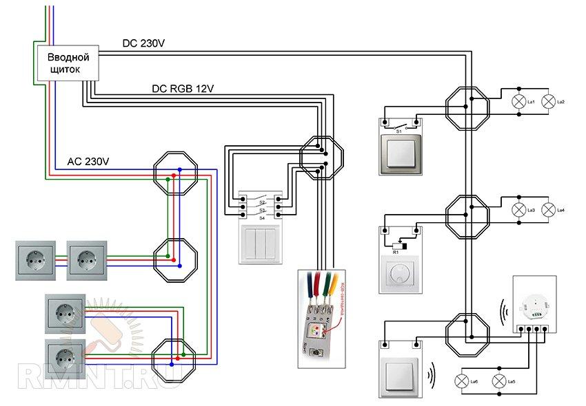 Схема освещения под лампы 12V.