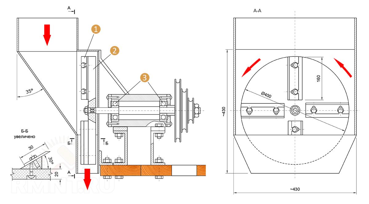 Дробилка отходов пенопласта эскиз чертеж молотковые дробилки смд в Тверь