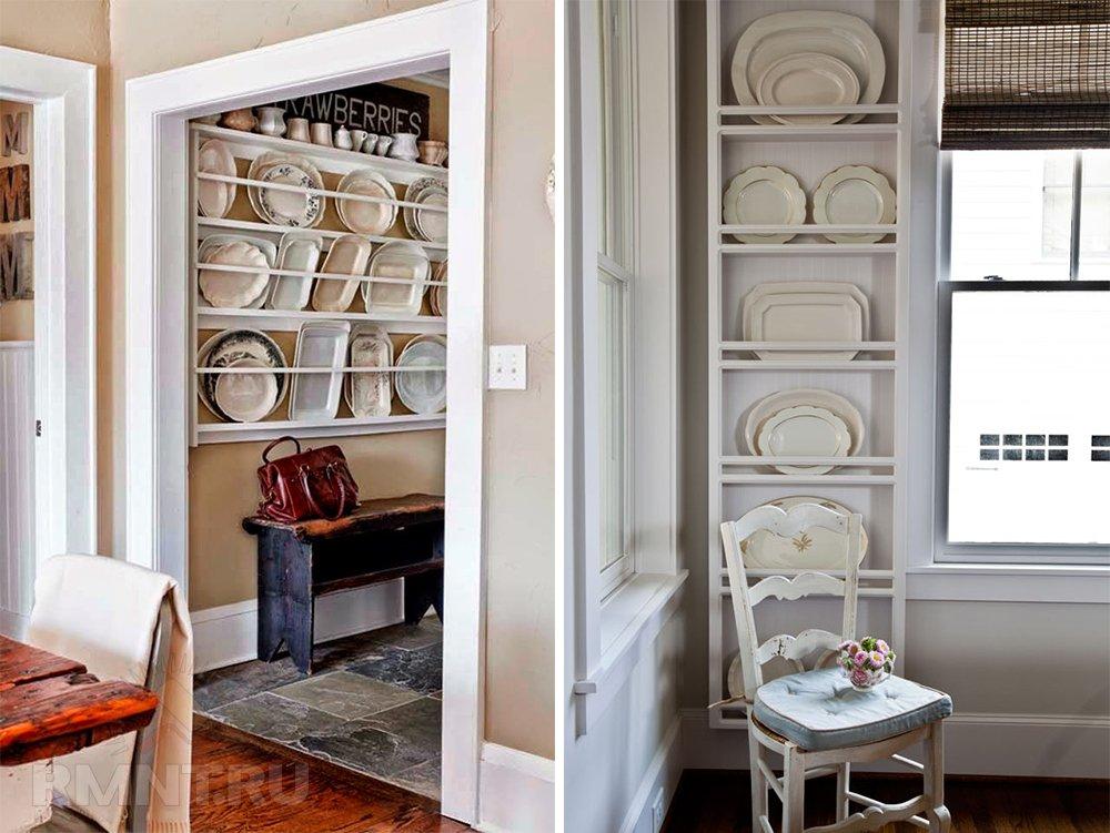 Идеи хранения крупной посуды на кухне