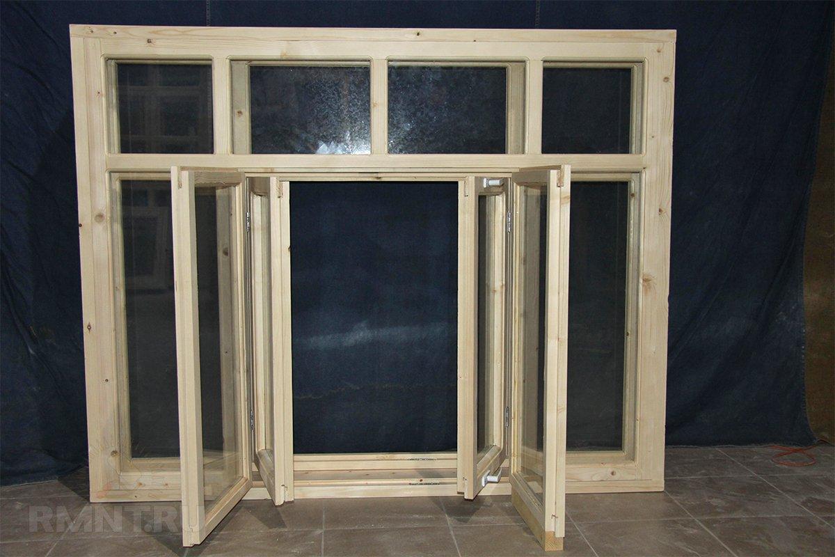 Столярное деревянное окно без стеклопакетов