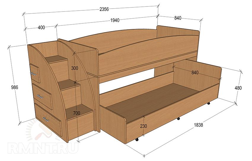 Двухъярусная кровать своими руками чертеж из дсп 995
