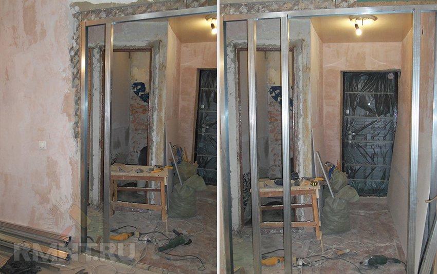 Как сделать перегородку с дверью из профиля и гипсокартона