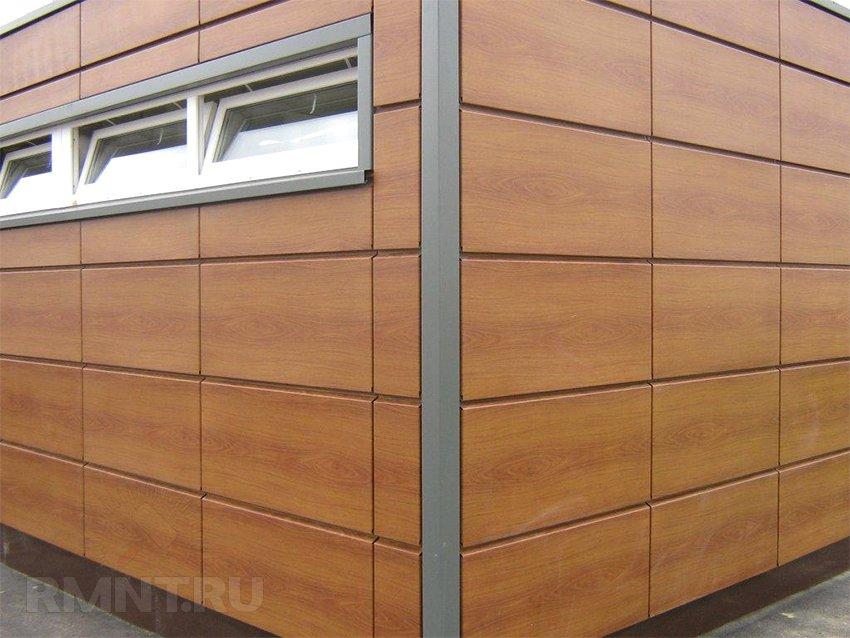 Металлические фасадные панели под дерево