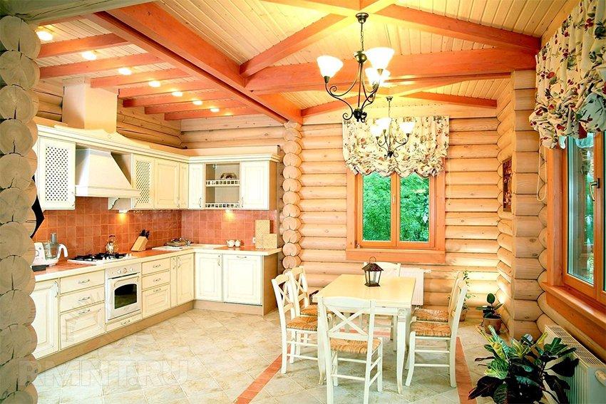 Пол из плитки в деревянном доме