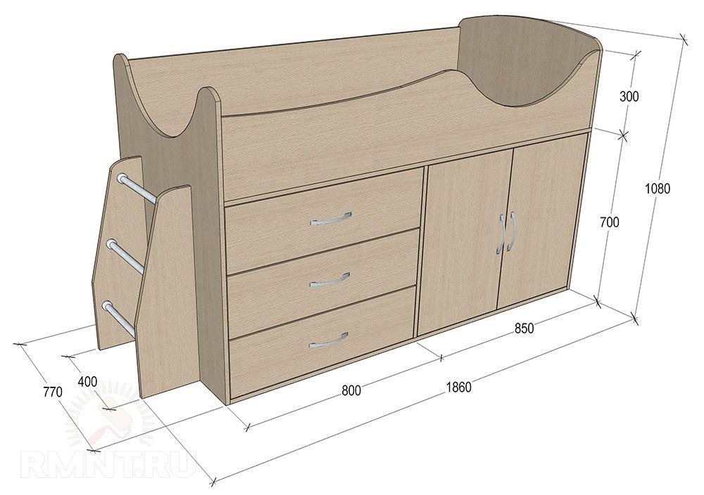 Детская кровать-чердак: чертеж с размерами