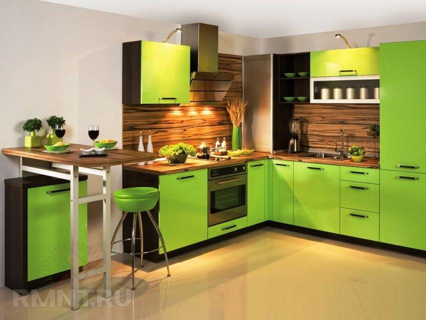 Интерьер кухни зеленого цвета фото