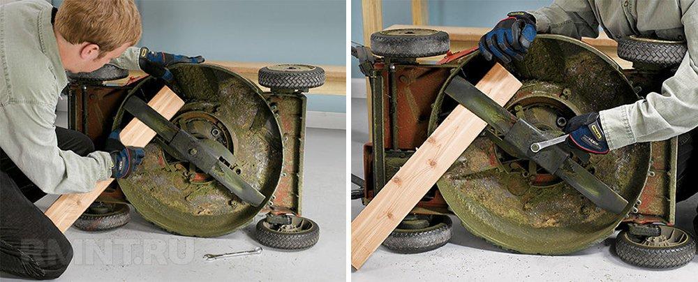 Снятие ножа газонокосилки