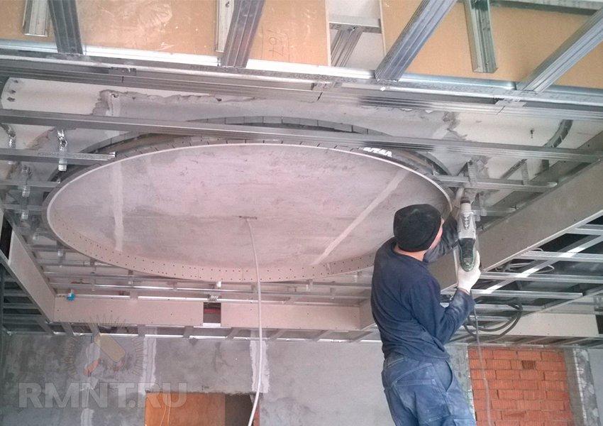 Как сделать двухъярусный потолок из гипсокартона фото 914
