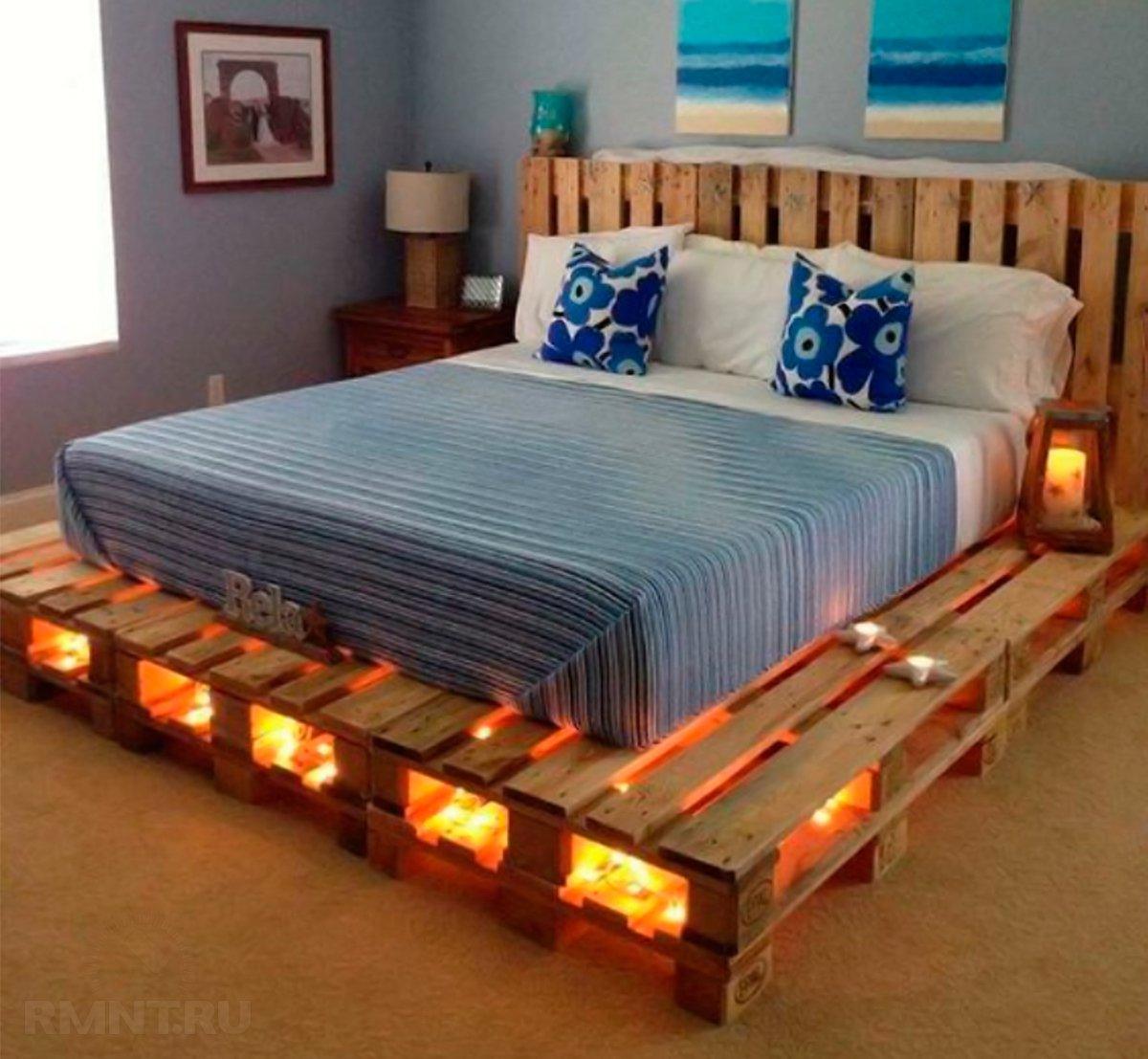 Идей для создания кровати из паллет