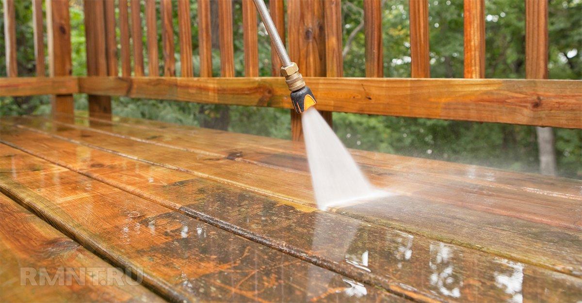 Чистка деревянной террасы