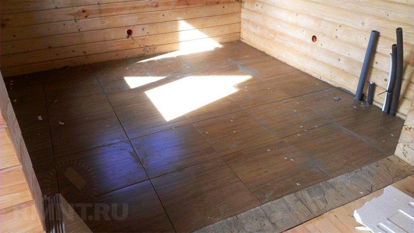 Укладка плитки в деревянном доме: подготовка пола