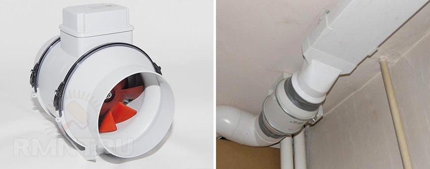 Установка канального вентилятора на кухне