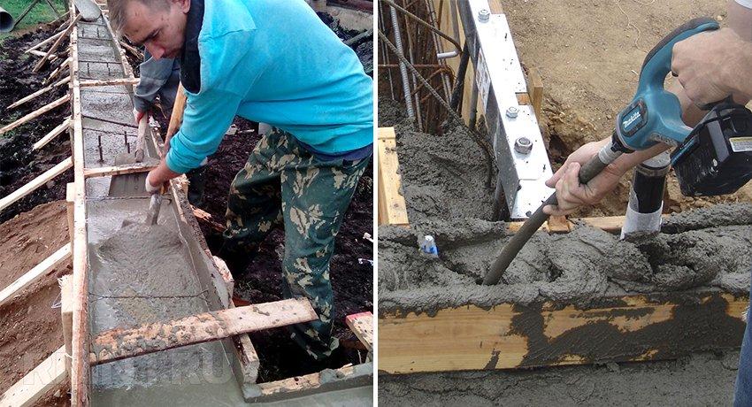 Трамбование бетонного фундамента