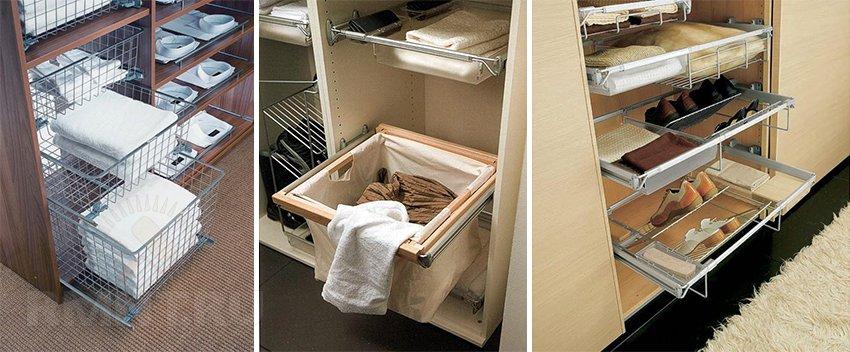 Выдвижные полки в шкаф-купе