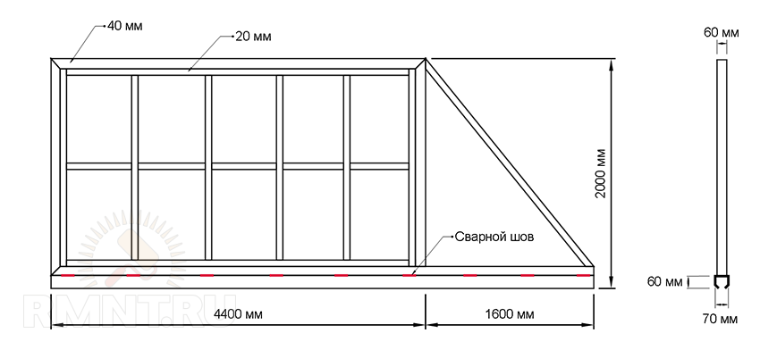 Чертеж откатных ворот 6 метров своими руками