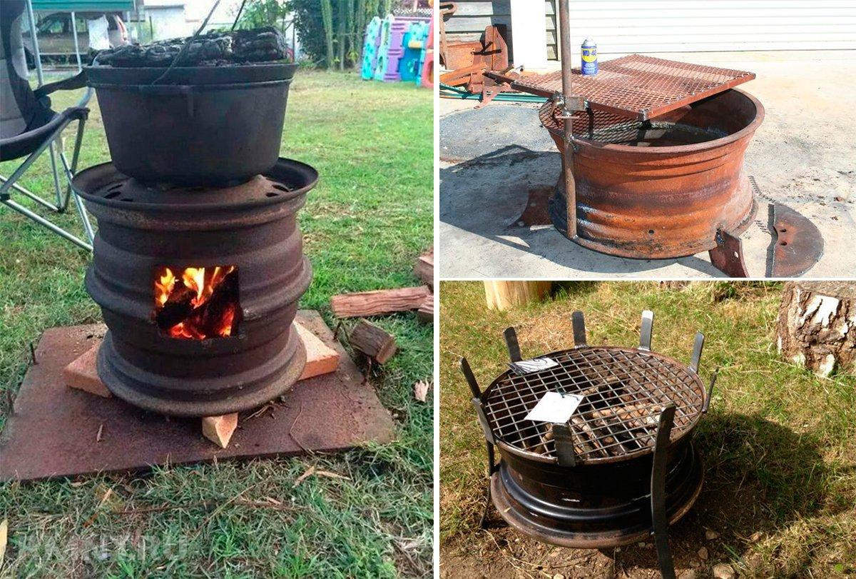 Самодельная печь из металла для бани 104