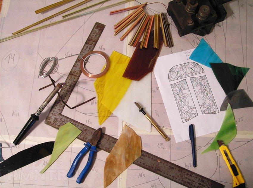 Инструменты и материалы для изготовления витража Тиффани