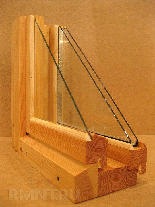 Норвежское окно из цельной древесины