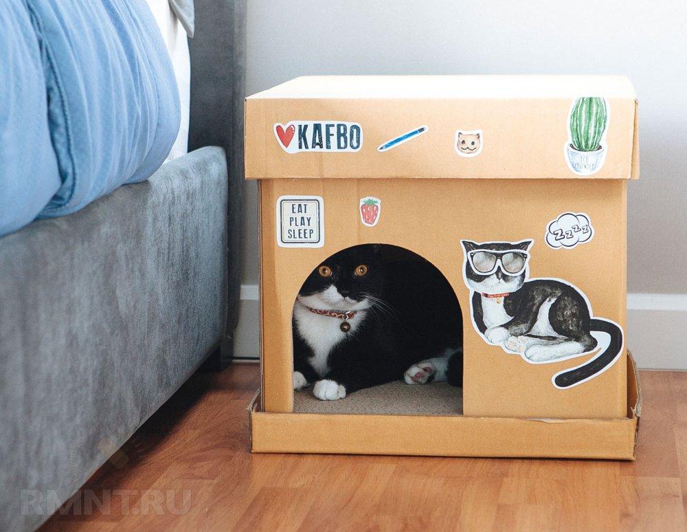 Домик коту своими руками из картона