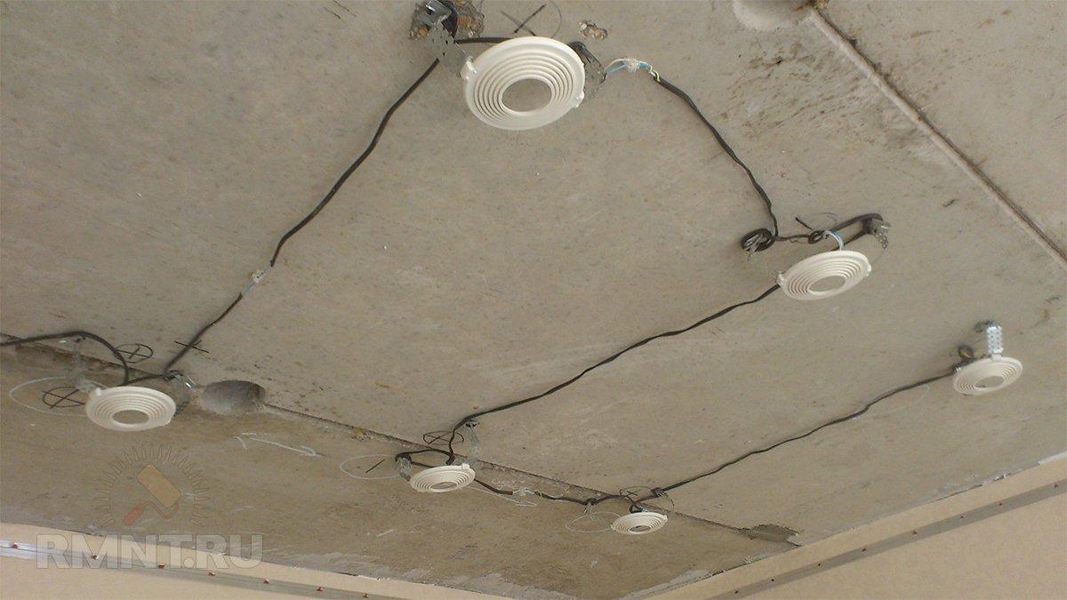 Закладные под точечные светильники для натяжного потолка