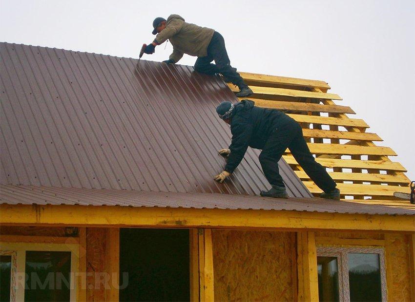 Крыша для бани из профнастила своими руками фото 486