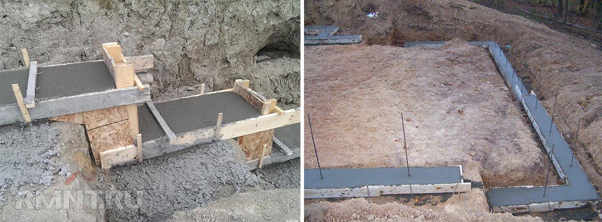 Ступенчатый ленточный фундамент на склоне
